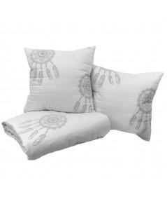 Komplet - narzuta 200x220 + 2 poduszki 50x50 Dream biel