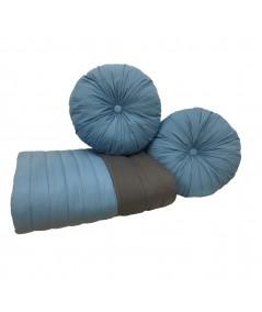 Komplet Narzuta dwustronna Vege Home + 2 poduszki okrągłe niebieskie