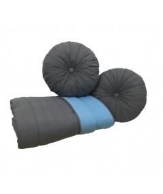 Komplet Narzuta dwustronna Vege Home 200x220 + 2 poduszki okrągłe antracyt