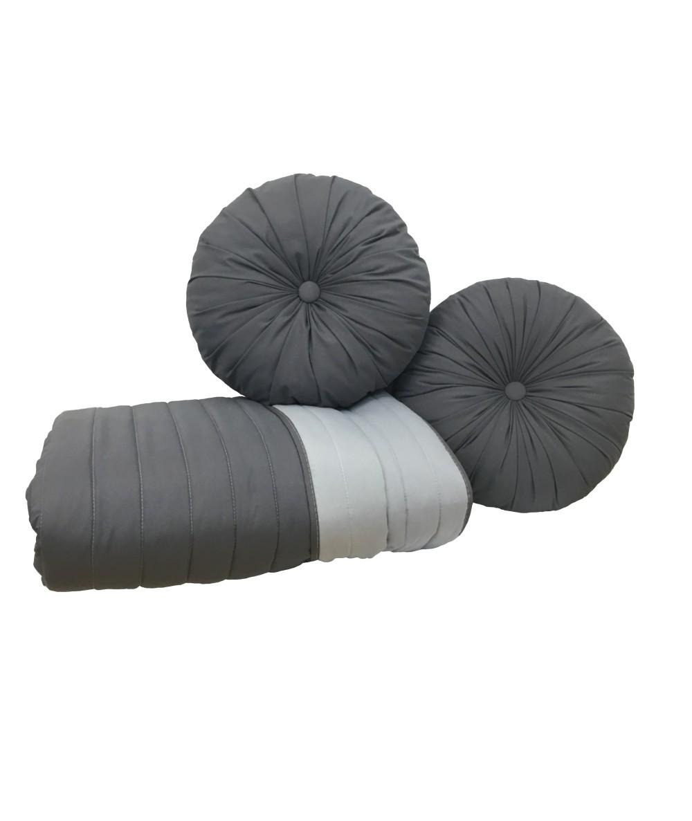 Komplet Narzuta dwustronna Vege Home 200x220 + 2 poduszki okrągłe antacyt