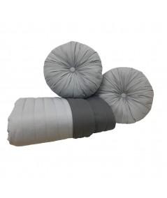 Komplet Narzuta dwustronna Vege Home 200x220 + 2 poduszki okrągłe stal