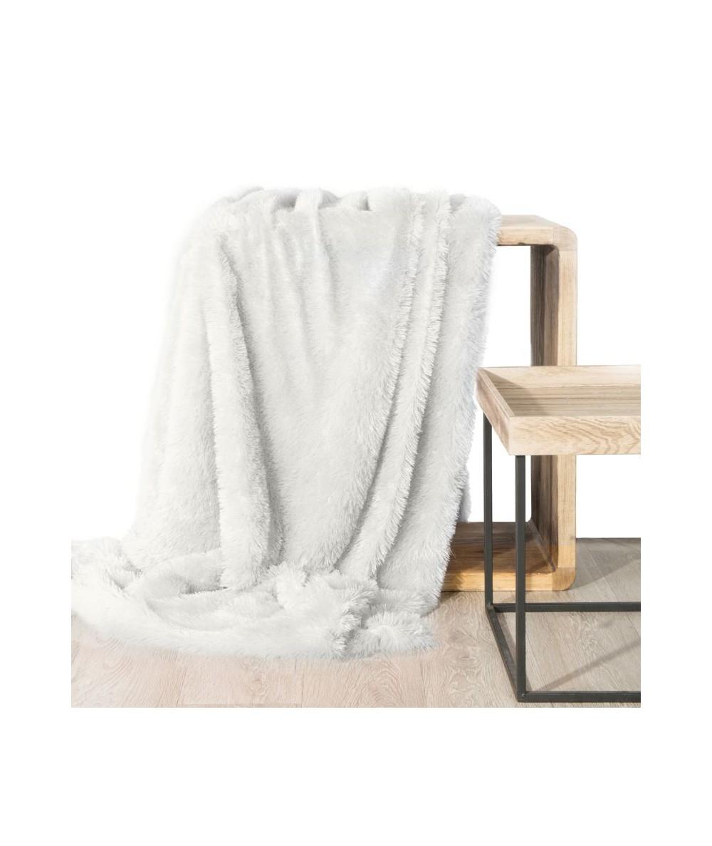 Koc futrzany narzuta Tiffany 200x220 biały