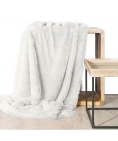 Koc futrzany narzuta Tiffany 150x200 biały