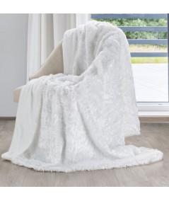 Koc futrzany narzuta Mavis 150x200 biały