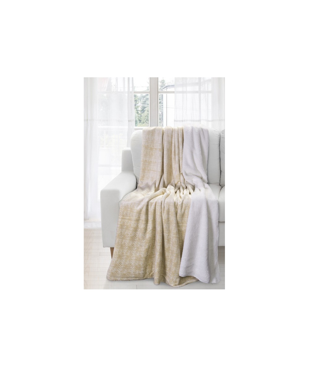 Koc futrzany narzuta Komfort 170x210 beżowy