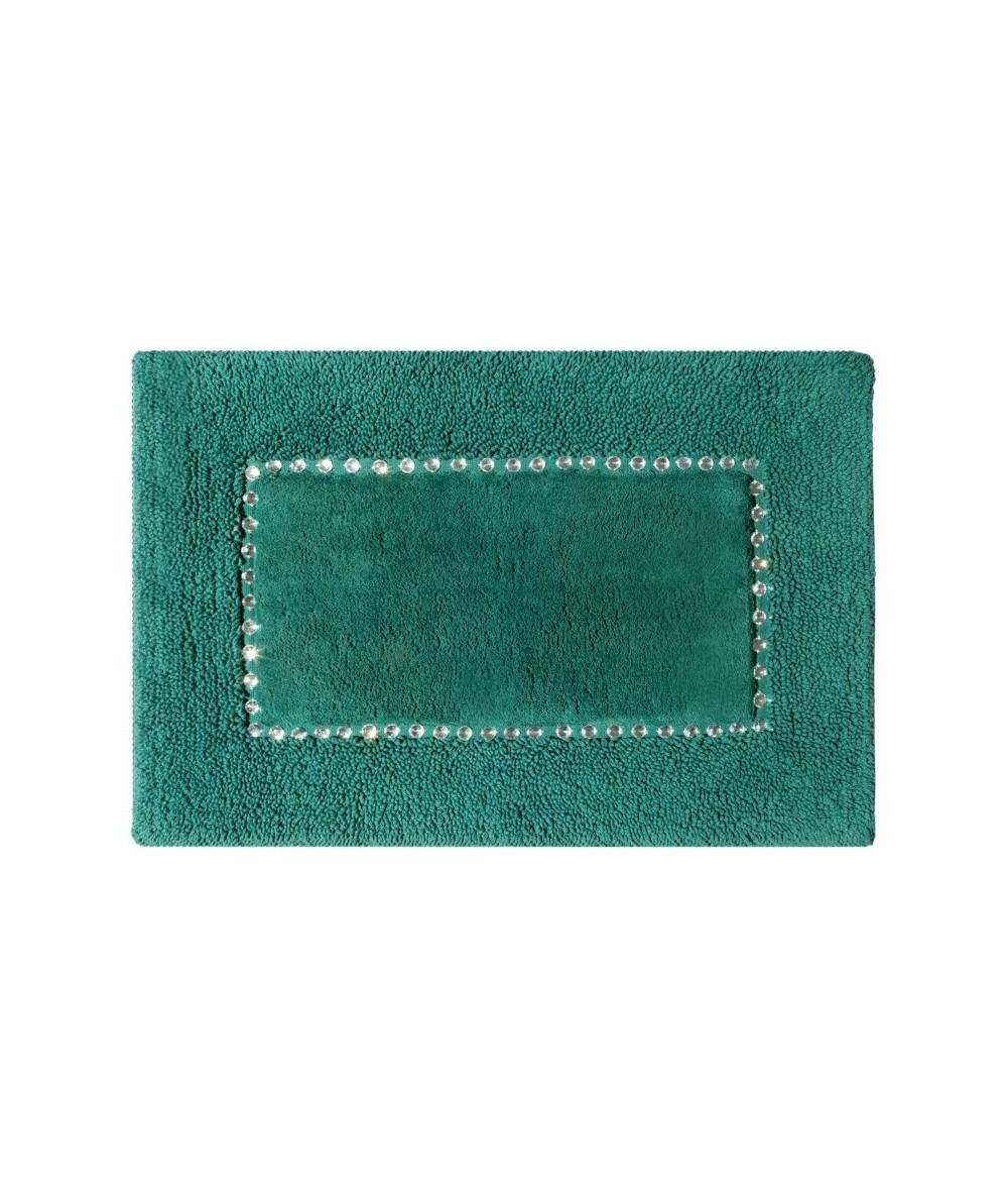 Dywanik bawełna z kryształkami Chic 75x150 ciemnozielony