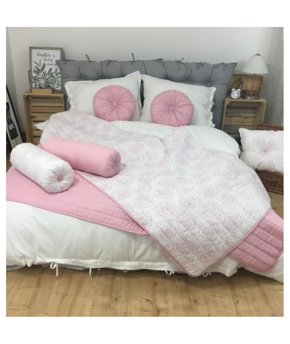 Narzuta dwustronna Vege Home 200x220 róże + 2 poduszki okrągłe różowe
