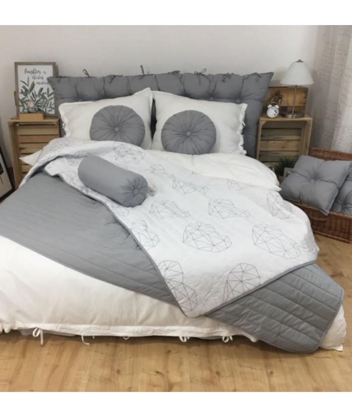 Narzuta dwustronna Vege Home 200x220 Heart + 2 poduszki okrągłe stalowe