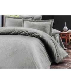 Pościel satyna żakardowa Sal Light Grey 200x220 + 2x70x80 Luxury Premium