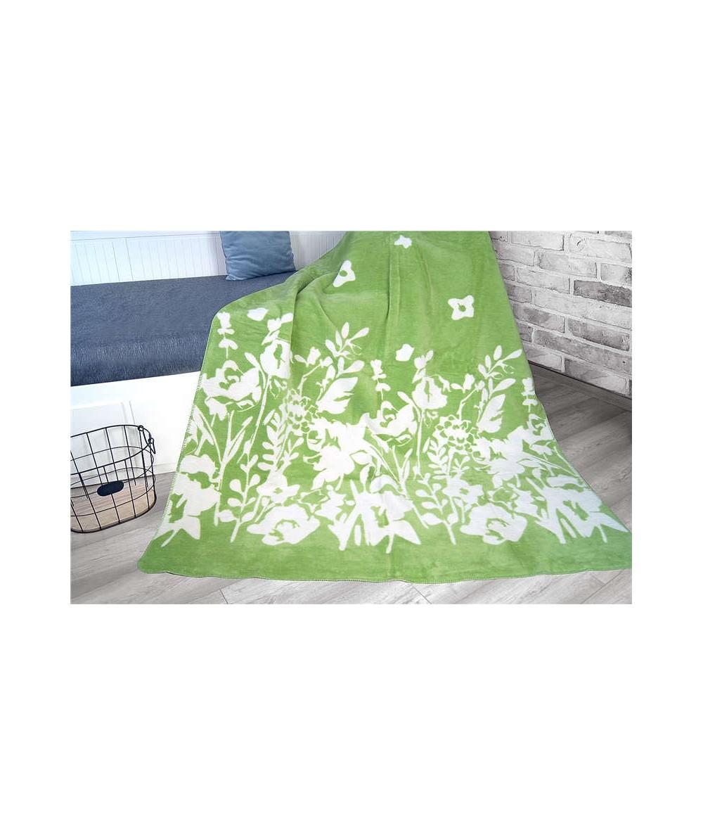 Polski koc bawełniany Glamour 150x200 Flo zielony GRENO