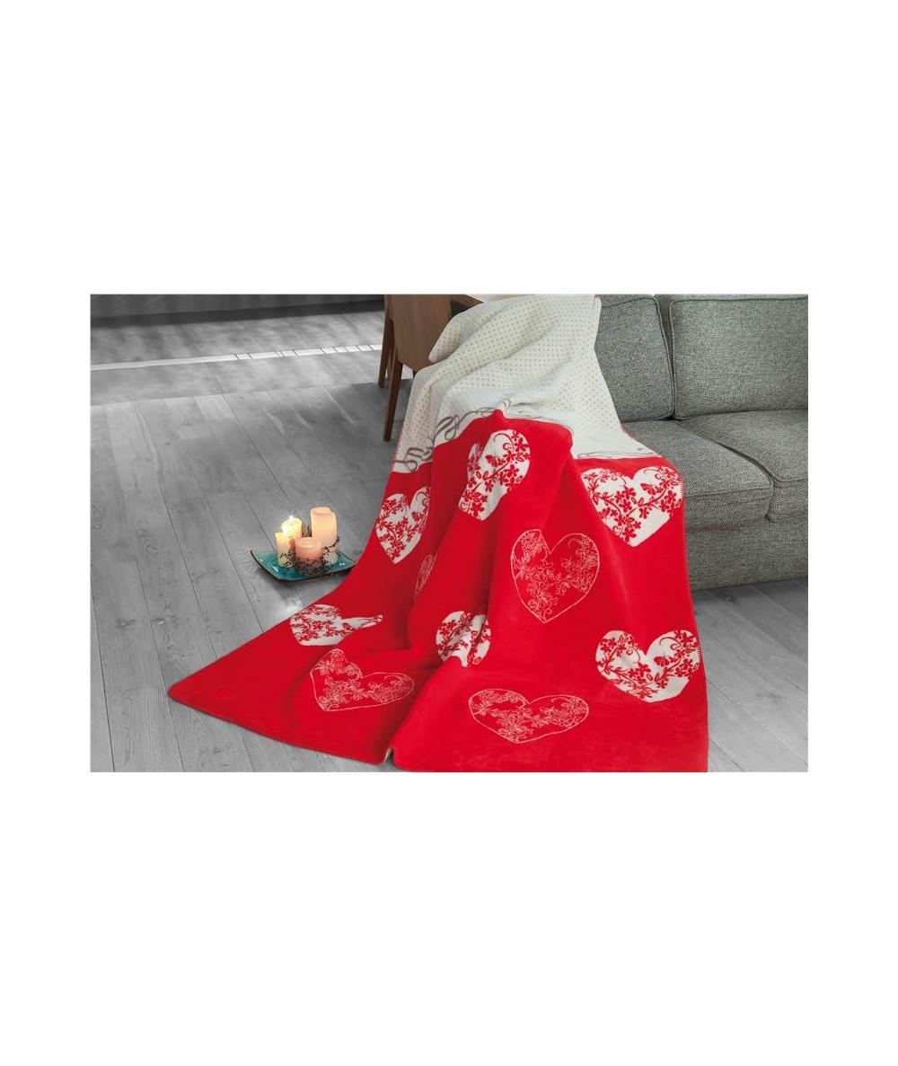 Polski koc bawełniany Glamour 150x200 Romantic czerwony GRENO