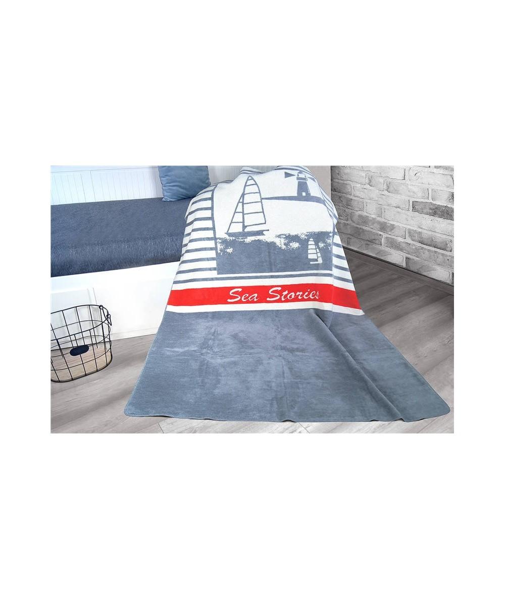 Polski koc bawełniany Glamour 150x200 Sea popielaty GRENO