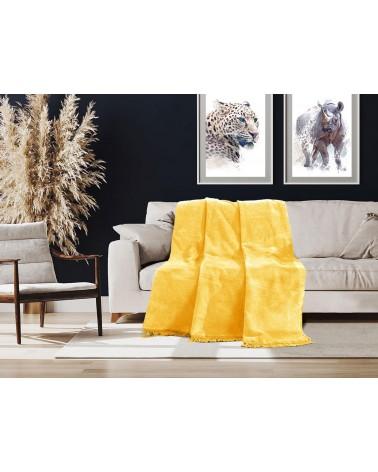 Koc bawełniany 150x200 B207 żółty