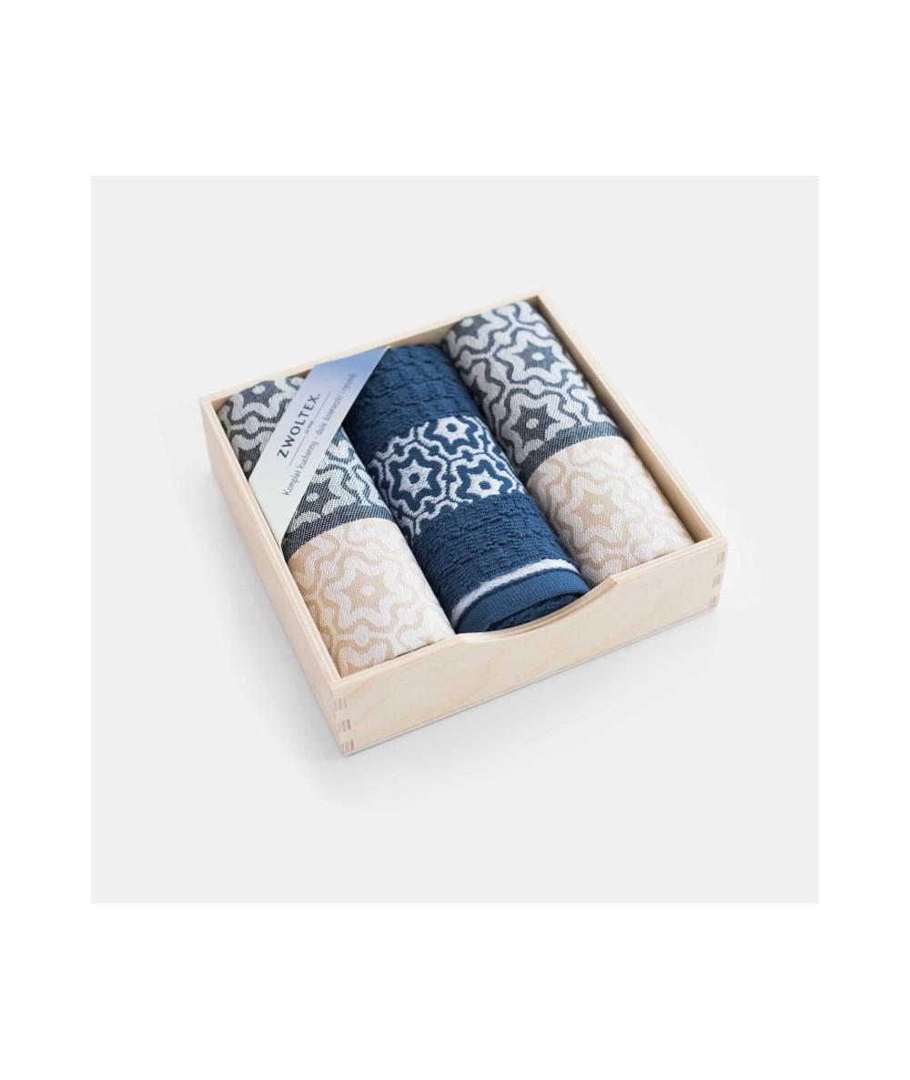 Komplet ściereczek drewniane pudełko Marsala beż/indygo 3 szt.