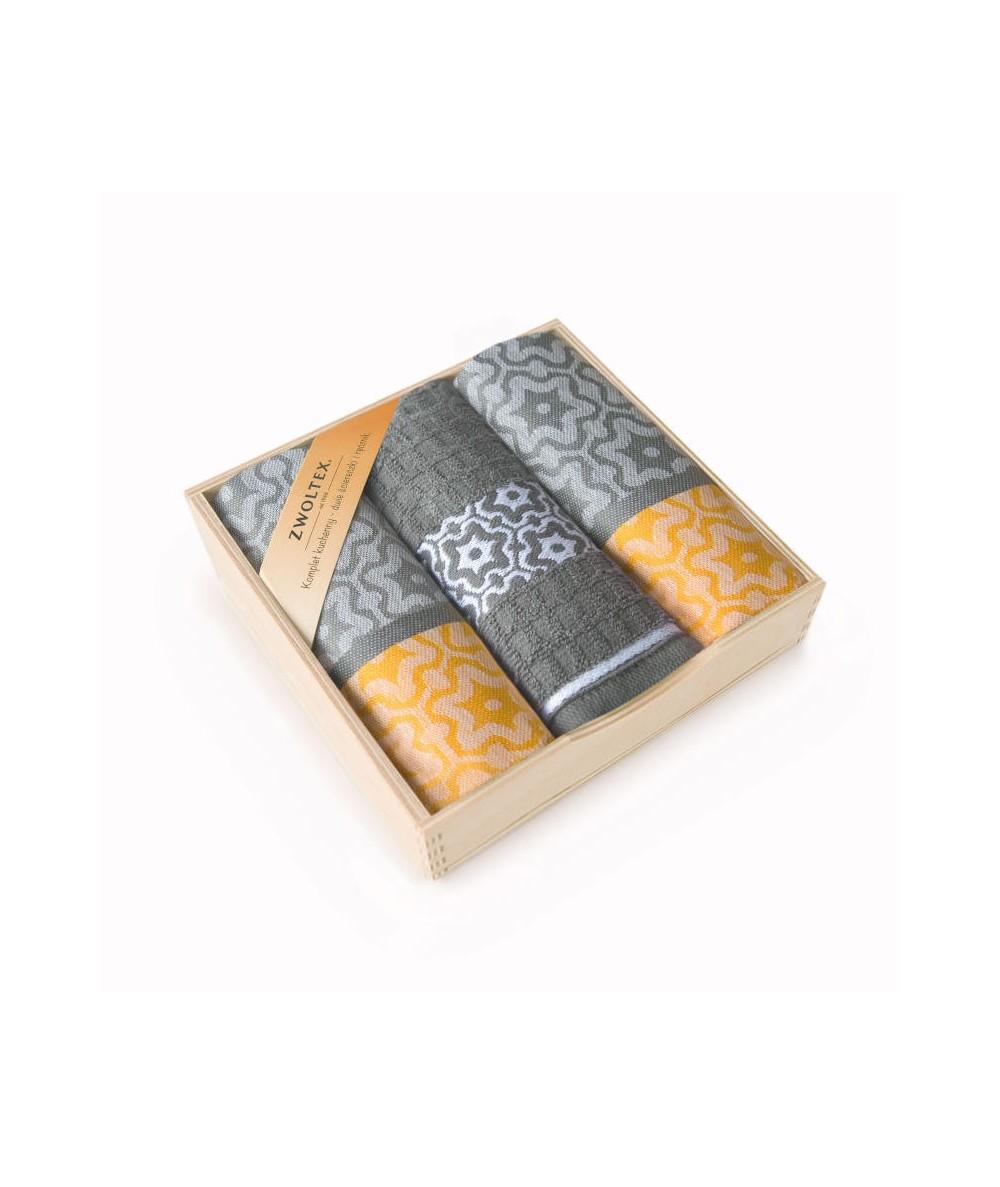Komplet ściereczek drewniane pudełko Marsala żółty/szary 3 szt.