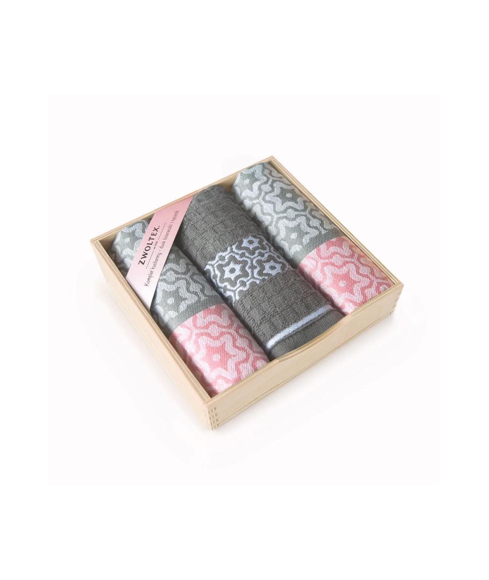 Komplet ściereczek drewniane pudełko Marsala róż/szary 3 szt.