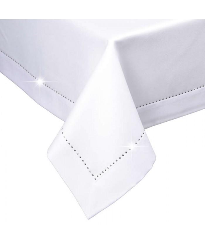 Polski obrus plamoodporny Glamour 140x180 z dżetami biały