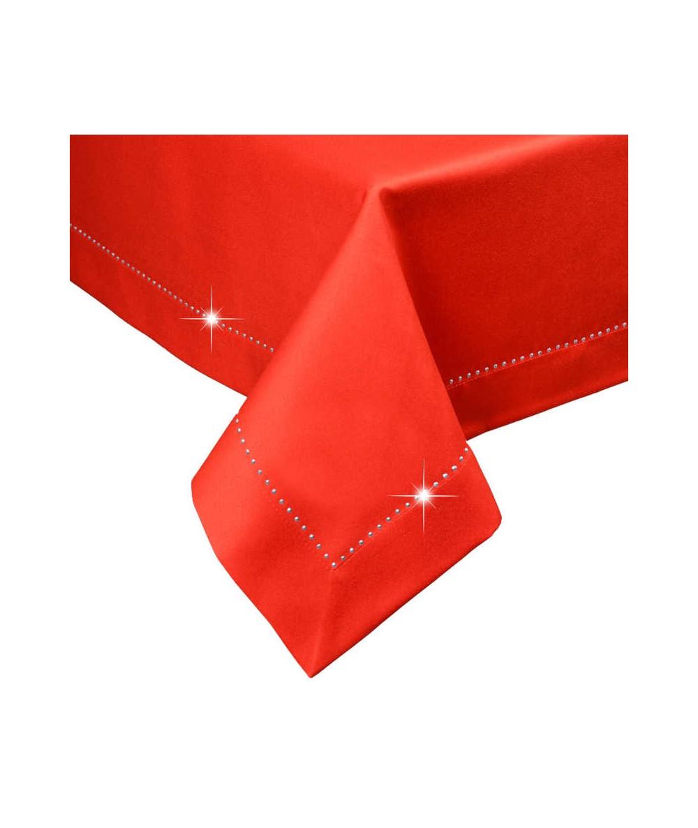 Polski obrus plamoodporny Glamour 140x180 z dżetami czerwony