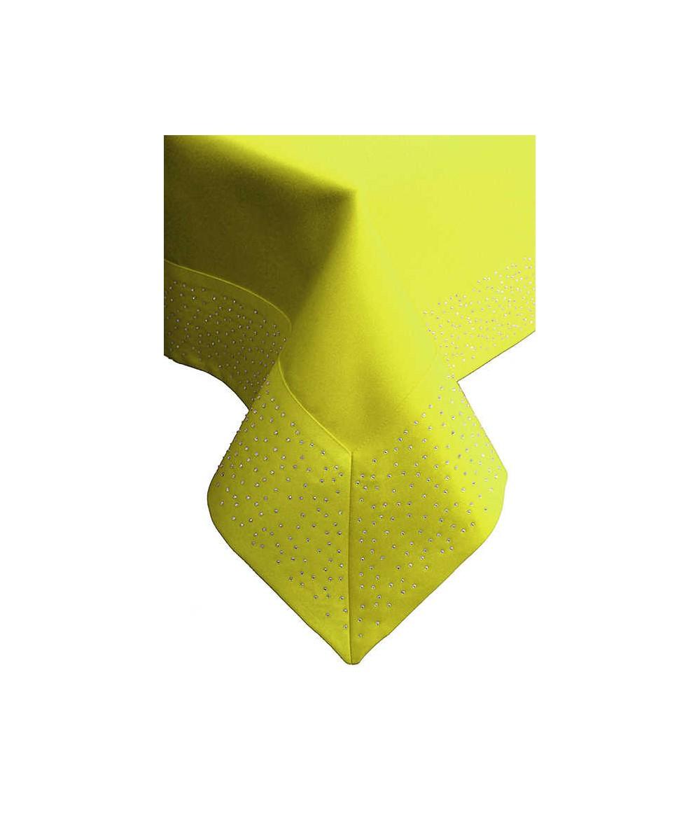 Polski obrus plamoodporny Szmaragd 140x200 z cyrkoniami żółty
