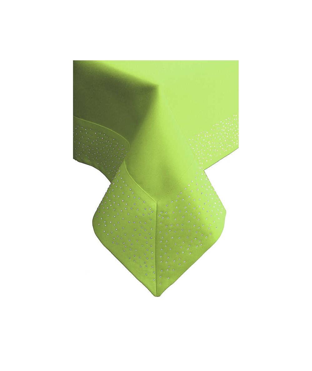 Polski obrus plamoodporny Szmaragd 140x260 z cyrkoniami zielony