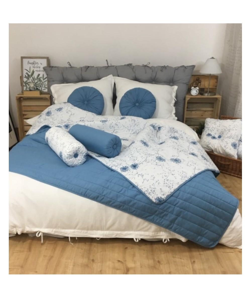 Narzuta dwustronna Vege Home 200x220 dmuchawce + 2 poduszki okrągłe niebieskie