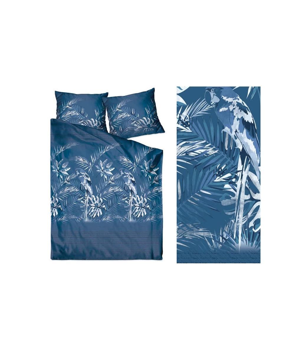 Pościel satyna bawełniana 200x220 + 2x70x80 z zamkiem Insignia Blue