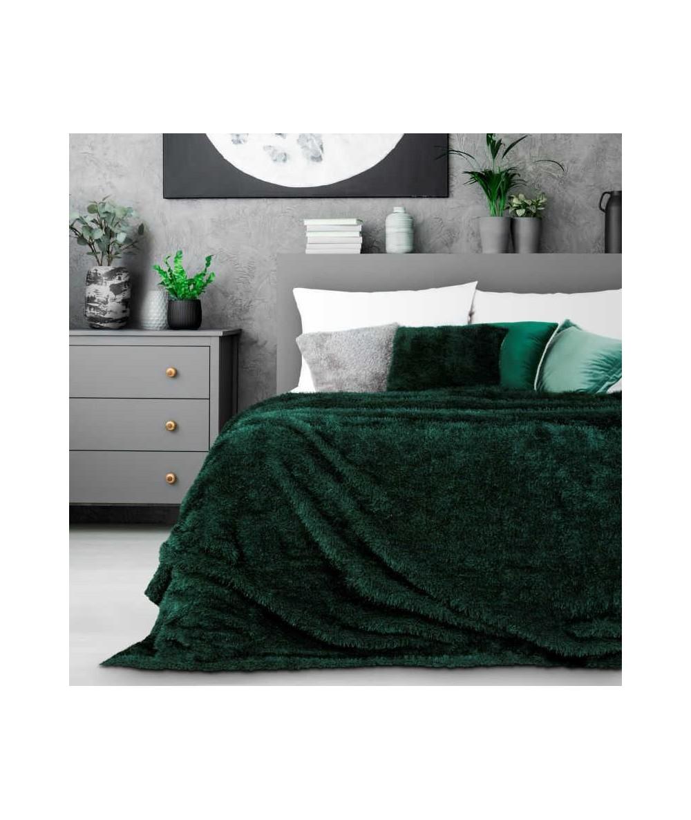 Koc futrzany narzuta Oriana 170x210 ciemny zielony