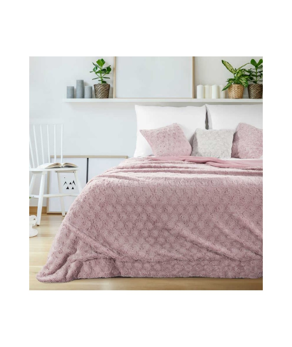 Koc futrzany narzuta Rosalia 170x210 ciemny różowy