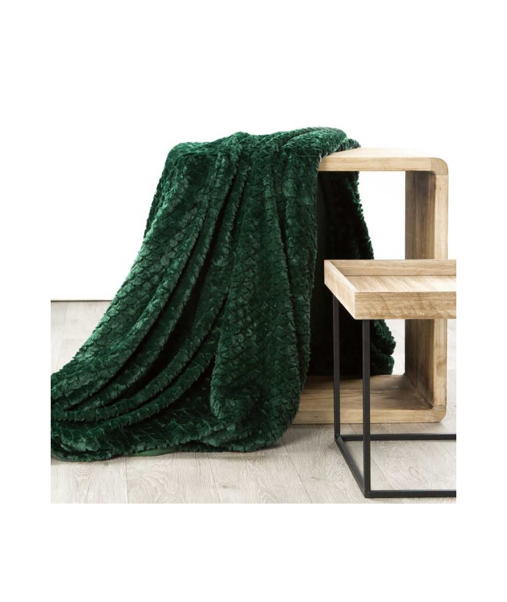 Koc futrzany narzuta Amber 170x210 ciemny zielony