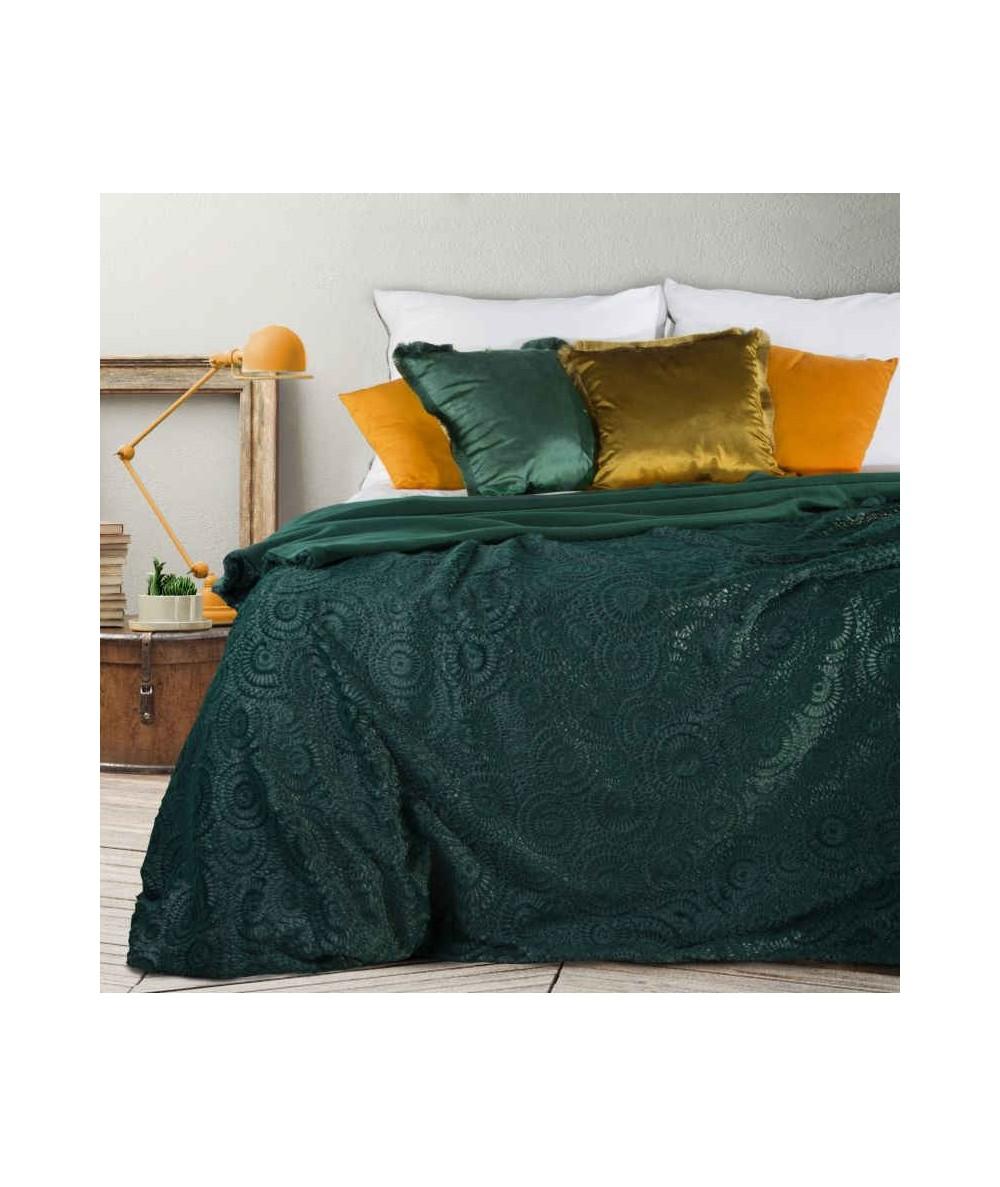 Koc futrzany narzuta Ofelia 220x240 ciemny zielony