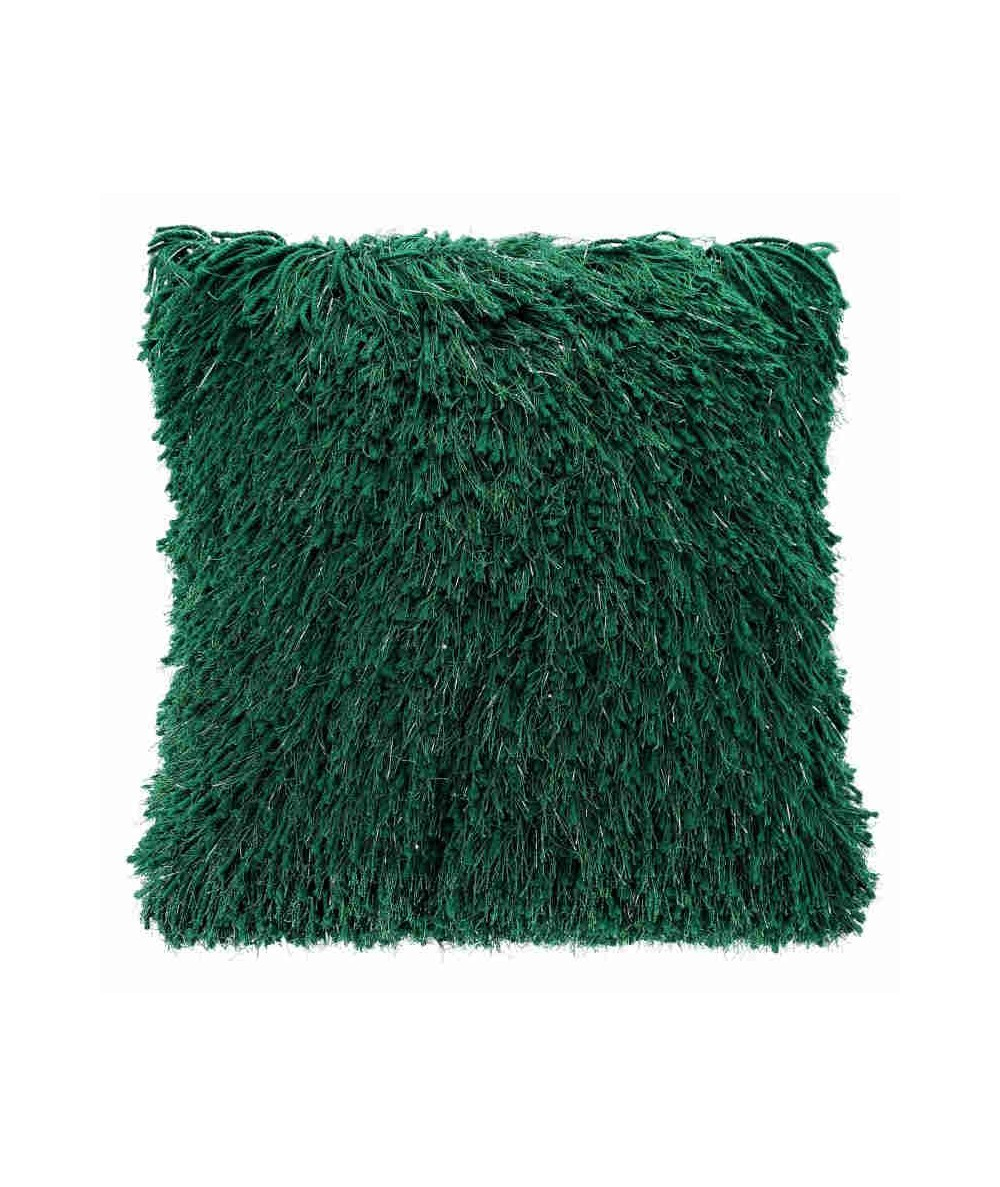 Poszewka z frędzlami Celia 40x40 ciemna zielona