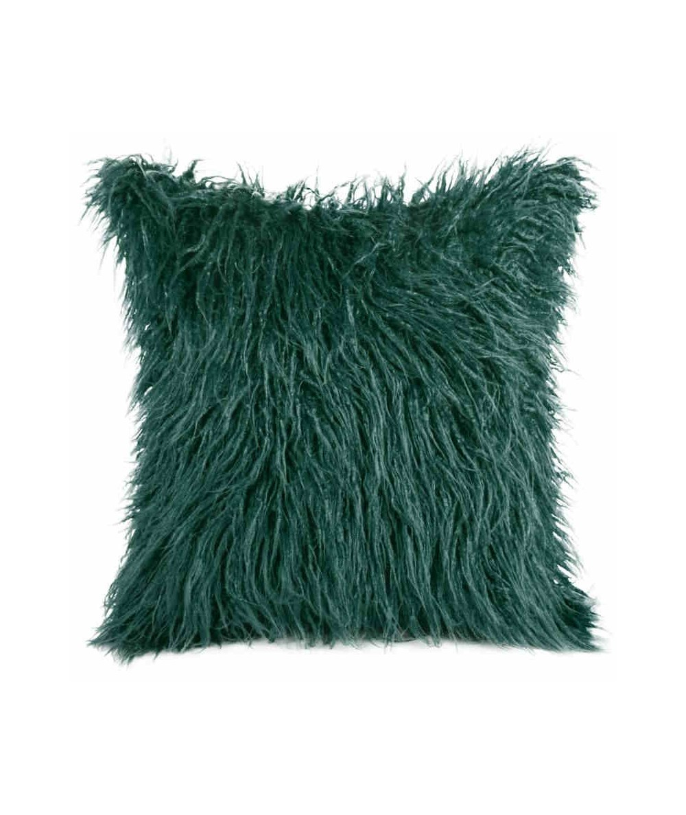 Poszewka futrzana Enya 45x45 ciemna zieleń