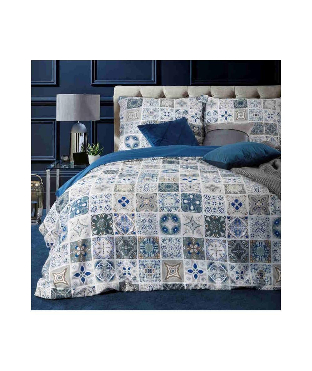 Pościel satyna bawełniana Azul 160x200 + 2x70x80 z zamkiem