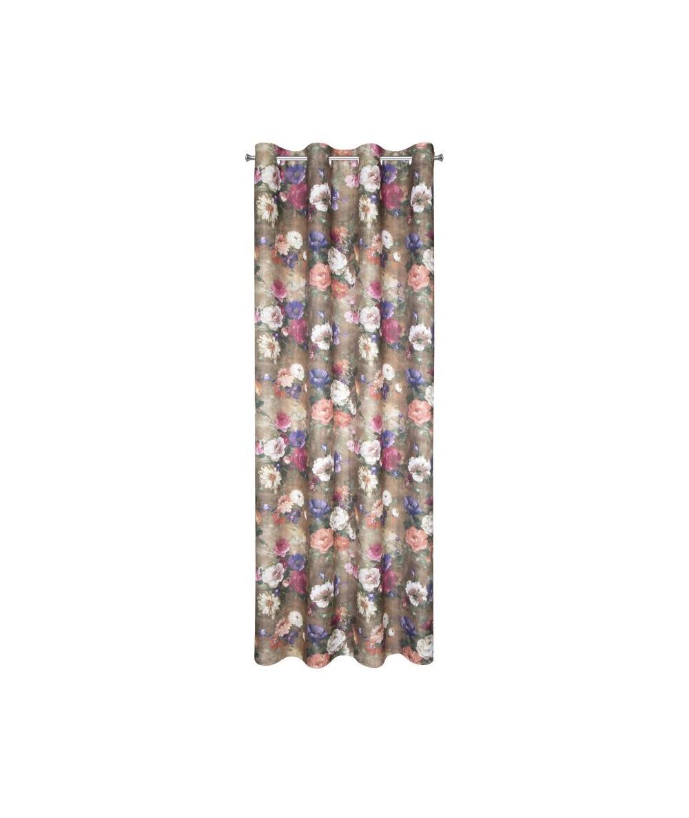 Zasłona zaciemniająca w kwiaty Milly 140x250 brązowa z przelotkami