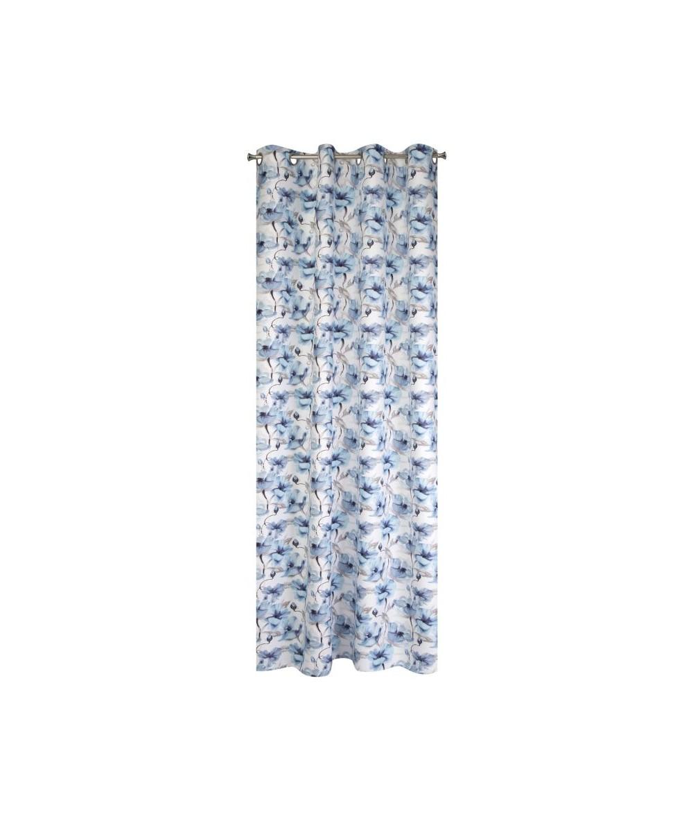 Zasłona zaciemniająca w kwiaty Willow 135x250 niebieska z przelotkami