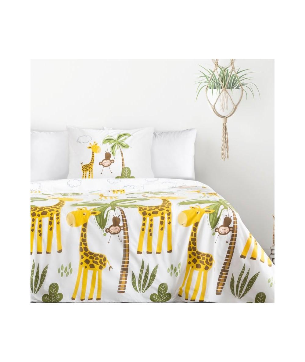 Pościel bawełna Giraffe 140x200 + 2x70x80 z zamkiem
